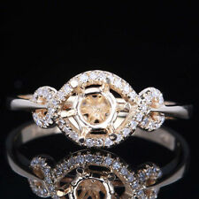 Round 5mm Solid 14K Yellow Gold Natural Diamond Engagement Semi Mount Fine Ring