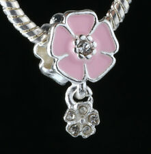 925 Silver Charm Beads Flowers Pendant Fit sterling Bracelet Necklace Chain #L59