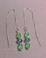 Fire polished 'PERIDOT' Crystals on 925 Sterling Silver Thread Earrings  (67261)