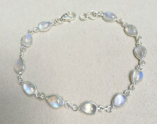 925 Sterling Silver Handmade Bracelet with Rainbow Moonstone with Gift Box