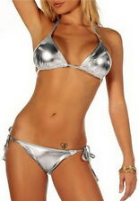 Hot Metallic Silver Strap Bikini Tie Side Swimwear Dance Wear Swimsuit TXT