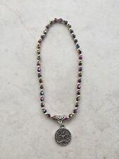 Anklet 4mm Purple Blue Green Multi Beads Silver Tone Lucky Tree Of Life Charm