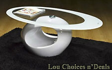 Table Coffee Oval White Modern Contemporary Retro High Gloss Furniture Glass Top