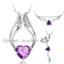 925 Sterling SILVER Purple ANGEL Wing HEART NECKLACE SWAROVSKI CRYSTAL S1026