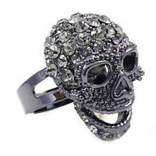 Butler and Wilson SMALL Pewter Crystal Skull Ring ONE SIZE New