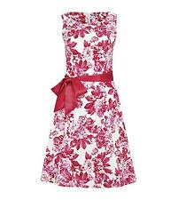 joe browns floral prom Fit and Flare sleeveless dress pink/white size 14