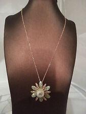 """Halskette """"Blume mit Perle"""" Messing 45cm vergoldet Kristalle Schmuck Neu"""
