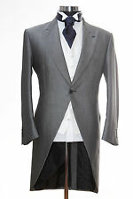 "MENS SILVER GREY ASCOT TAILS 46"" SHORT 2X LARGE TAILCOAT EX HIRE WEDDING JACKET."