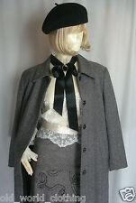 Vintage Herringbone Preppy Wool Tweed Coat by Max Pierre UK-8-10 US-2-4 EU-34-36