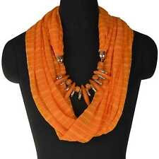 Vogue Bohemia Resin Beads Neck Stole Shawl Soft Collar Wrap Pendant Necklace