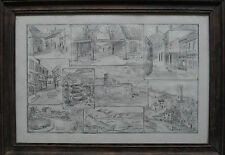 Unidentified artist Signed & dated 53 Original drawing of 9 locations in England
