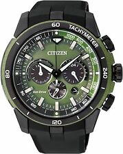 Citizen Eco-Drive Resin Band Mens Steel Case Chronograph Watch CA4156-01W