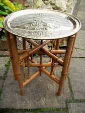 ANTIQUE BAMBOO FOLDING WOODEN SIDE TABLE  WITH BRASS TRAY  TOP
