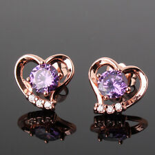 New arrival Swarovski crystal 18K rose gold filled Heart shape stud earring