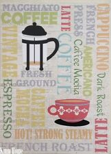 Coffee Words Home or Cafe Hanging Wall Art Plaque Novelty Sign Decoration NEW