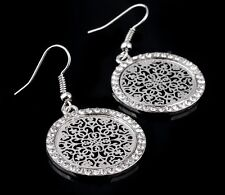 18K White Gold Plated Round Filigree Drop Dangle Earrings Austrian Crystals
