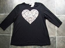 BNWT Ladies Black, Gold & Silver Shiny Heart 3/4 Sleeve Knit Top Size M