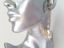 Gorgeous long gold tone & diamante & crystal filled leaf  drop earrings * NEW *