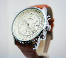 New Rotary Men's Watch Brown Leather ,Cream dial Chronograph Waterproof RRP £180