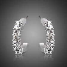 Cubic Zirconia Platinum Plated Stellux Austrian Crystal Hoop Earring for Women
