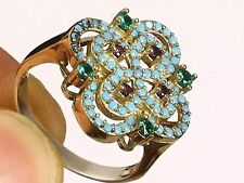 HANDMADE EMERALD, AMETHYST& TURQUOISE 925 STERLING SILVER RING SIZE 8 R-611