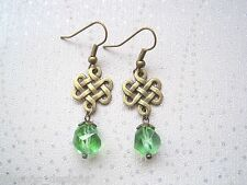 *CELTIC KNOT GREEN AB BEAD DROP* Antique Gold Earrings VINTAGE STYLE bronze