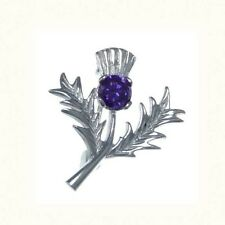 Beautiful Sterling Silver & Amethyst Thistle Brooch