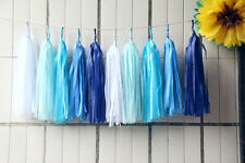 """25x 14"""" Blue Mixed Tissue Tassels Paper Garland Wedding Event Party Decorations"""