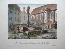 BADEN-BADEN, Kloster Lichtenthal. Orig. Farblithographie von 1828  -SELTEN-
