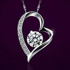 White Gold fd Chain Necklace +Heart Silver Pendant Crystal Wedding Birthday Gift