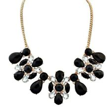Black Crystal & Clear Diamonte / Diamante Gold Tone Statement Necklace - NEW!!