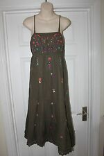 Ladies Green Cotton Embroidered Oasis Dress Size 14 Summer Holiday