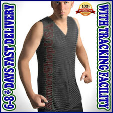 Butted Blackend Rust Proof Sleeve Less Chainmail Shirt Sleeveless Chain Mail