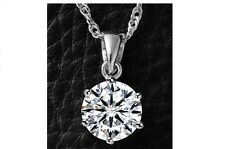 925 STERLING SILVER 8MM SOLITAIRE CLEAR CZ DIAMANTE PENDANT BOX CHAIN NECKLACE