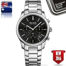 NEW HUGO BOSS MENS YACHTING TIMER II WATCH SILVER TONE BLACK DIAL CHRONO 1513336