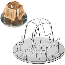 Stainless Steel Camping Stove Toaster 4 Slice Outdoor Caravan BBQ Cooking Gear