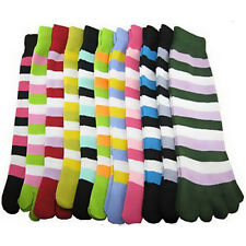 6 Pairs Cotton Womens Girls Striped Five Fingers Toe Ankle Socks Mixed Colors