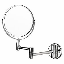 MAGNIFYING WALL MOUNTED TWO SIDED SWIVEL MAKEUP SHAVING MIRROR EXTENDABLE