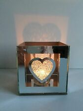 * NEW MODERN SQUARE MIRRORED GLASS JEWELLED love heart candle tea light holder.