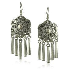 Women Vintage Bohemian Boho Style Bronze Drop Flower Rhinestone Dangle Earrings