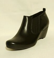 Clarks Gore Tex Black Leather Ankle Boots Booties Shoes Wedges Ladies Uk Size 8