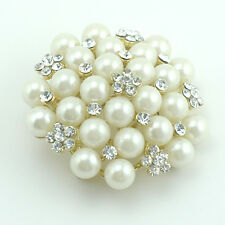 18k Gold GF pearls Swarovski crystals bridal white brooch pin