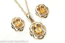 9ct Gold Citrine Pendant and Earring Set Celtic Gift Boxed Made in UK