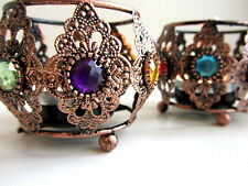SET OF 3 MOROCCAN STYLE JEWELED TEA LIGHT HOLDERS CANDLES SUPPLIED
