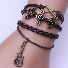 Infinity Guitar Music Friendship Antique Copper Leather Charm Bracelet Bangle