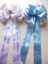 Frozen personalised ribbon bow, Cake topper add to Christmas or Birthday gifts
