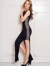 Long Black Dress-Lace Split Sides-Nude Fabric Under Lace for Modesty-size 16