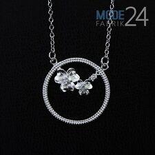 Damen Hals Kette 925 Sterling Silber pl. Zirkonia 0,13K Statement Collier Blume