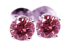 PINK SAPPHIRE EARRINGS 2 CT VVS1 STERLING SILVER STUDS HARDNESS 9