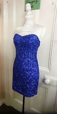 Vintage 1960's Style Blue Sequin Evening/ Cocktail Dress Approx Size 10